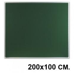 Pizarra verde laminada con marco de aluminio q-connect en formato 200x100 cm.