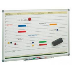 Planning semanal de acero lacado con marco de aluminio faibo en formato 60x90 cm.