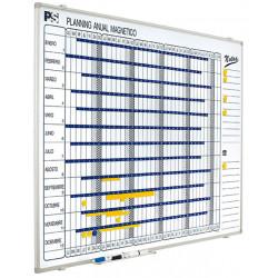 Planning anual de acero lacado con marco de aluminio planning sisplamo de 90x120 cm.