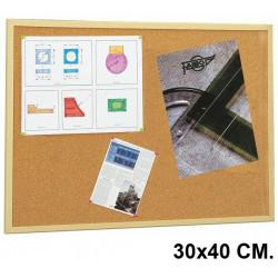 Tablero de corcho con marco de madera de pino faibo de 30x40 cm.