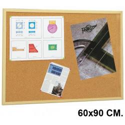 Tablero de corcho con marco de madera de pino faibo de 60x90 cm.