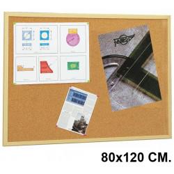 Tablero de corcho con marco de madera de pino faibo de 80x120 cm.