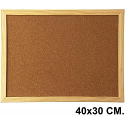Tablero de corcho con marco de madera de pino q-connect en formato 40x30 cm.