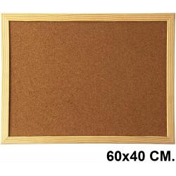 Tablero de corcho con marco de madera de pino q-connect en formato 60x40 cm.