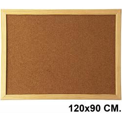 Tablero de corcho con marco de madera de pino q-connect en formato 120x90 cm.