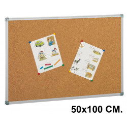 Tablero de corcho con marco de aluminio faibo de 50x100 cm.