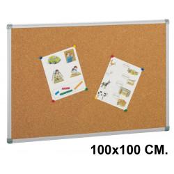 Tablero de corcho con marco de aluminio faibo de 100x100 cm.