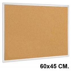 Tablero de corcho con marco de aluminio q-connect en formato 60x45 cm.