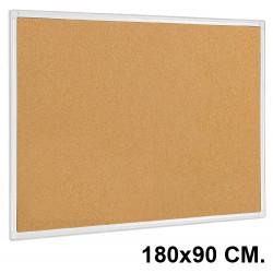 Tablero de corcho con marco de aluminio q-connect en formato 180x90 cm.