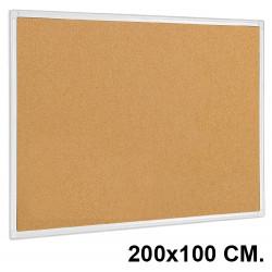 Tablero de corcho con marco de aluminio q-connect en formato 200x100 cm.