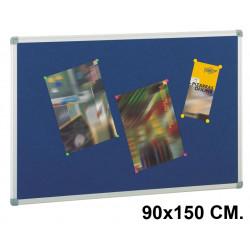 Tablero de corcho tapizado en textil con marco de aluminio faibo de 45x60 cm.