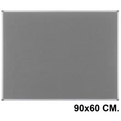 Tablero de fieltro con marco de aluminio nobo classic en formato 90x60 cm. color gris.