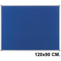 Tablero de fieltro con marco de aluminio nobo classic en formato 120x90 cm. color azul.