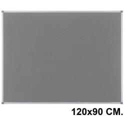 Tablero de fieltro con marco de aluminio nobo classic en formato 120x90 cm. color gris.