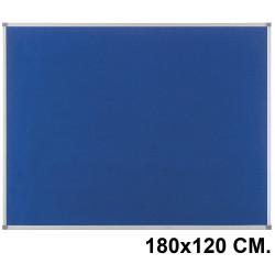 Tablero de fieltro con marco de aluminio nobo classic en formato 180x120 cm. color azul.