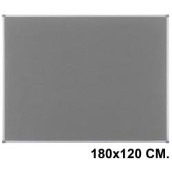 Tablero de fieltro con marco de aluminio nobo classic en formato 180x120 cm. color gris.