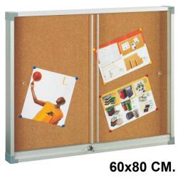 Vitrina de anuncios con fondo de corcho natural y marco de aluminio faibo en formato 60x80 cm.