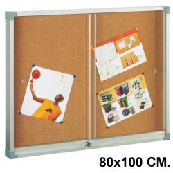 Vitrina de anuncios con fondo de corcho natural y marco de aluminio faibo en formato 80x100 cm.