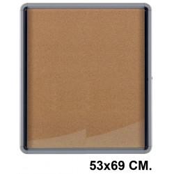 Vitrina de anuncios con fondo de corcho natural y marco de aluminio nobo premium plus 53x69 cm.