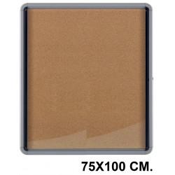 Vitrina de anuncios con fondo de corcho natural y marco de aluminio nobo en formatode 75X100 cm.