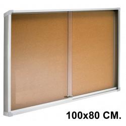 Vitrina de anuncios con fondo de corcho natural y marco de aluminio q-connect en formato 100x80 cm.