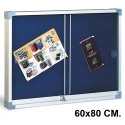 Vitrina de anuncios con fondo de corcho tapizado y marco de aluminio faibo en formato 60x80 cm. color azul.