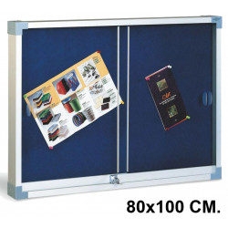 Vitrina de anuncios con fondo de corcho tapizado y marco de aluminio faibo en formato 80x100 cm. color azul.