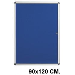Vitrina de anuncios con fondo de fieltro y marco de aluminio q-connect en formato 90x120 cm. color azul.
