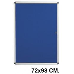 Vitrina de anuncios con fondo de fieltro y marco de aluminio q-connect en formato 72x98 cm. color azul.