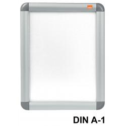 Porta pósters de pared nobo clipdown en formato din a-1, color plata.