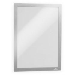 Marco informativo durable duraframe en formato din a-4, color plata, pack de 2 uds.