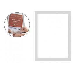 Marco informativo q-connect magneto con adhesivo removible en formato din a-4, color plata, pack de 2 uds.