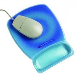 Reposamuñecas 3m línea confort con superficie de precisión en color azul transparente.