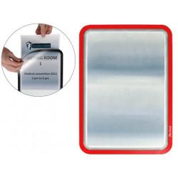 Marco informativo tarifold magneto adhesive en formato din a-4, color rojo, pack de 2 uds.