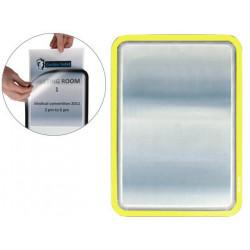 Marco informativo tarifold magneto adhesive en formato din a-4, color amarillo, pack de 2 uds.