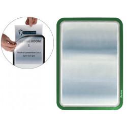 Marco informativo tarifold magneto adhesive en formato din a-4, color verde, pack de 2 uds.