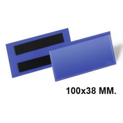 Funda magnética durable en formato 100x38 mm. color azul oscuro, pack de 50 uds.