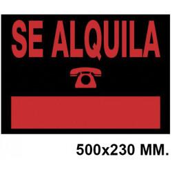 """Cartel anunciador """" se alquila """" archivo 2000 en formato 500x230 mm. color naranja fluorescente / negro."""