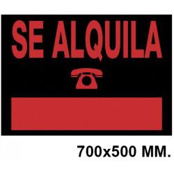 """Cartel anunciador """" se alquila """" archivo 2000 en formato 700x500 mm. color naranja fluorescente / negro."""