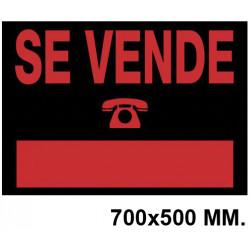 """Cartel anunciador """" se vende """" archivo 2000 en formato 700x500 mm. color naranja fluorescente / negro."""
