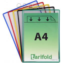 Funda en pvc con anilla metálica cromada tarifold en formato din a-4 vertical, colores surtidos, pack de 5 uds.