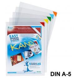 Funda con adhesivo removible y cierre imantado tarifod kang easy clic en formato din a-5, pack de 5 uds.