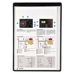 Funda en pvc con banda magnética y marco tarifold en formato din a-4 vertical, color negro, pack de 5 uds.