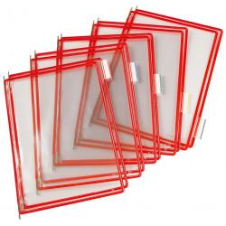 Funda en pvc con pivotes metálicos tarifold en formato din a-4 vertical, color rojo, pack de 10 uds.