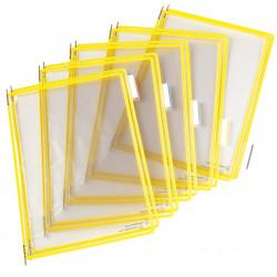 Funda en pvc con pivotes metálicos tarifold en formato din a-4 vertical, color amarillo, pack de 10 uds.