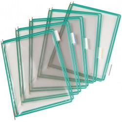 Funda en pvc con pivotes metálicos tarifold en formato din a-4 vertical, color verde, pack de 10 uds.