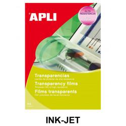 Transparencia en poliéster apli apta para impresoras ink-jet en formato din a-4, caja de 100 uds.