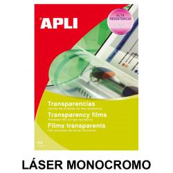 Transparencia en poliéster apli apta para impresoras láser monocromo en formato din a-4, caja de 100 uds.