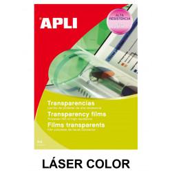 Transparencia en poliéster con banda superior apli apta para impresoras láser color en formato din a-4, caja de 50 uds.