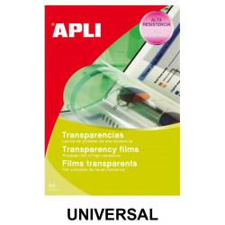 Transparencia en poliéster con banda superior apli universal en formato din a-4, caja de 50 uds.